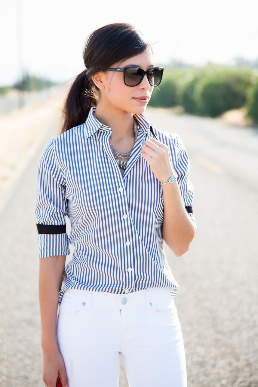 Styling A Striped Dress Shirt For Summer Striped Striped Dress White Denim Jeans [ 1287 x 858 Pixel ]
