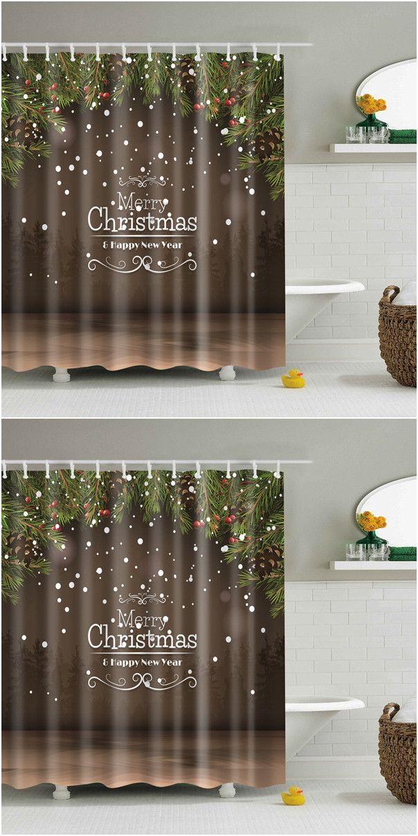 New Year Christmas Waterproof Fabric Bath Curtain Shower Curtains Homemade