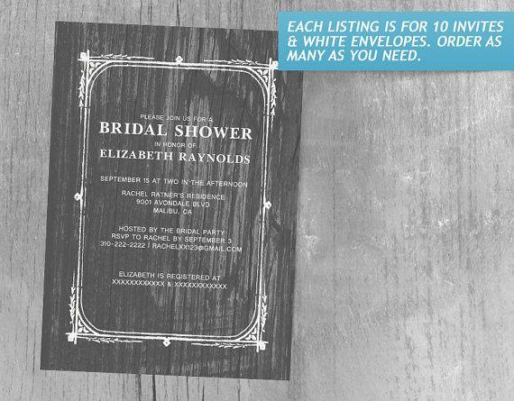 Grey Rustic Barn Wood Bridal Shower Invitations