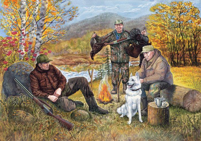 рисунок охотники на привале чему