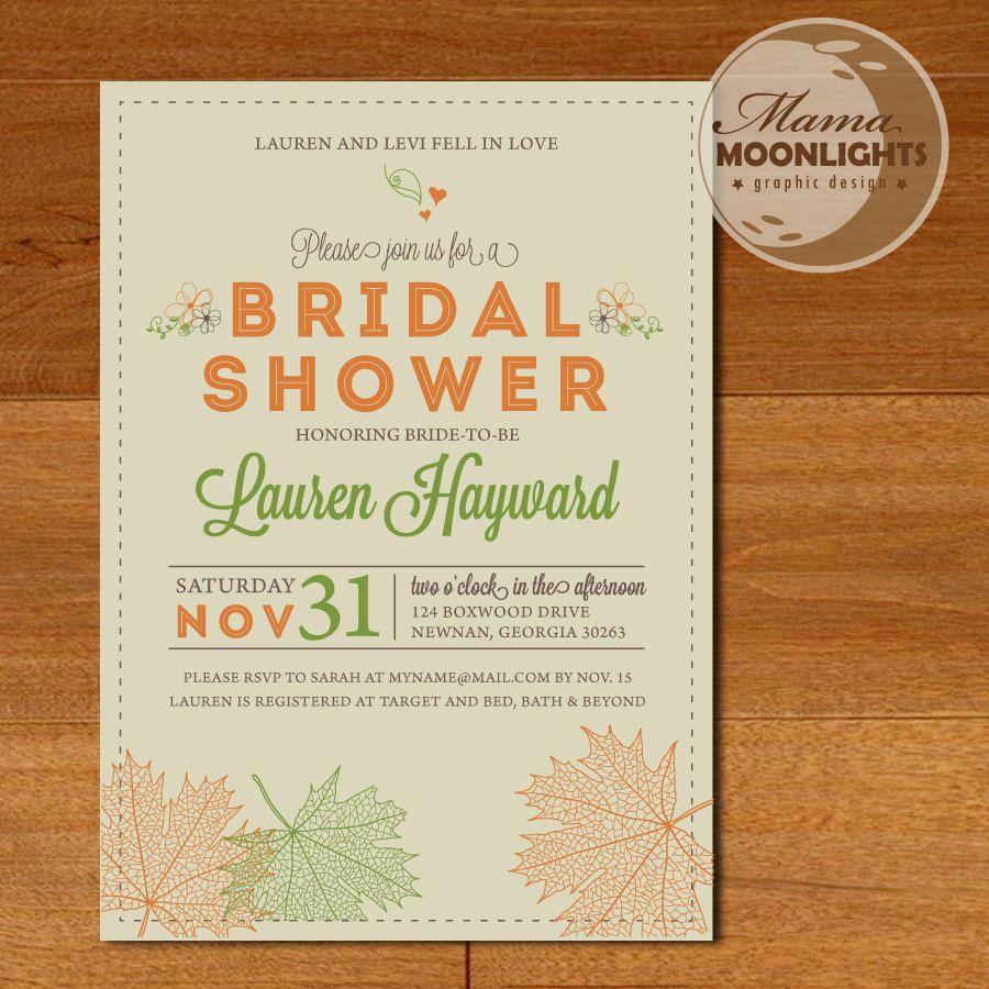 Autumn Bridal Shower Wedding Modern Printable Invitation - Fall ...
