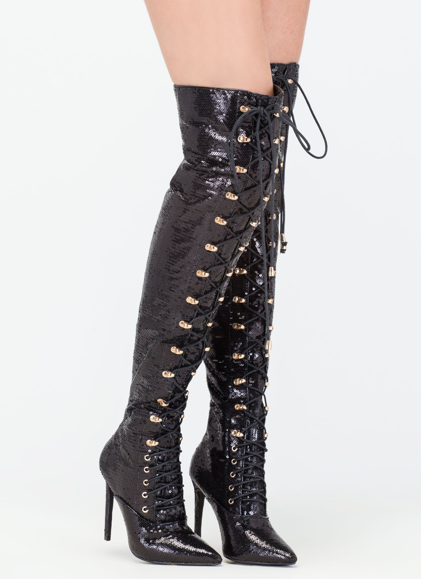 1d233ddc82 Walk Tall Sequin Thigh-High Boots | Shoe Lovers Paradise | Sequin ...