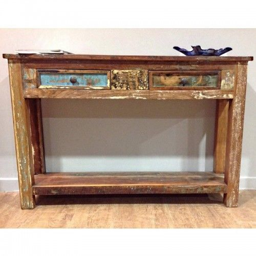 Beautiful RECLAIMED DISTRESSED 2 DRAWER CONSOLE TABLE