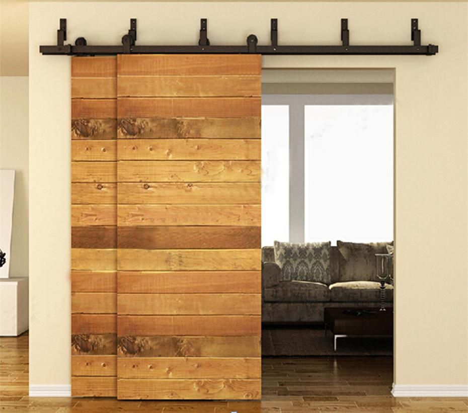 10 12 13 15 16 Ft Antique Country Farm Bypass Sliding Double Door Hardware Barn Wood Interior Rollers Closet Track Kit Set Bypass Barn Door Hardware Barn Door Kit Bypass Barn Door