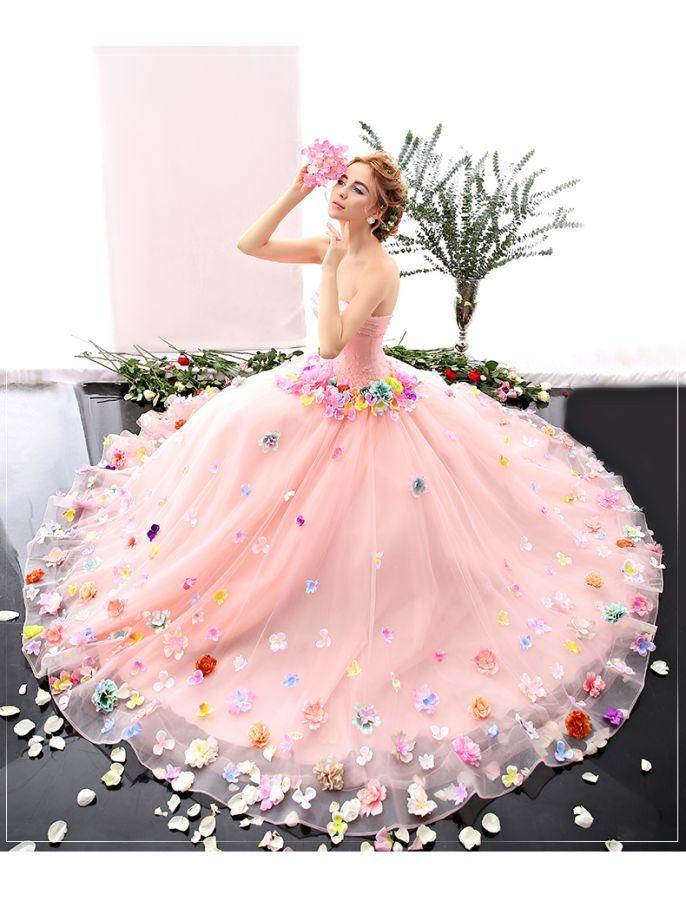 Romantic Strapless Floral Retro Prom Dress | Bridal . Wedding ...