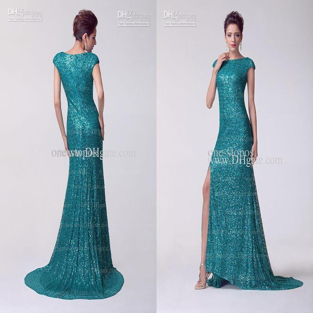 Hot Selling Sequin / Side Slit Mermaid Crew Pageant Dresses | Buy ...