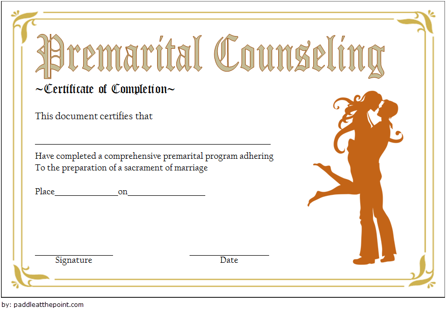 Pre Marriage Counseling Certificate Template FREE