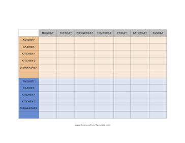 Weekly schedule with room for the AM and PM shifts of up ...