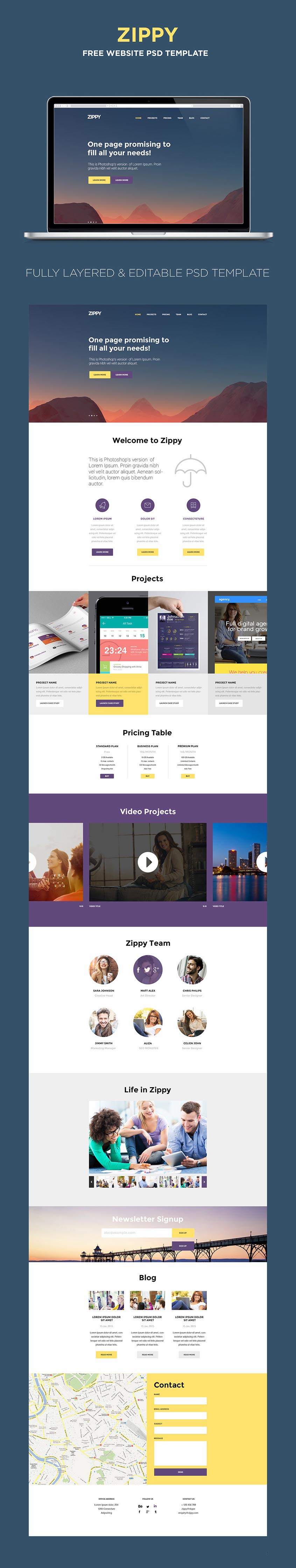 Free One Page Website Template | PSD Templates | Pinterest ...