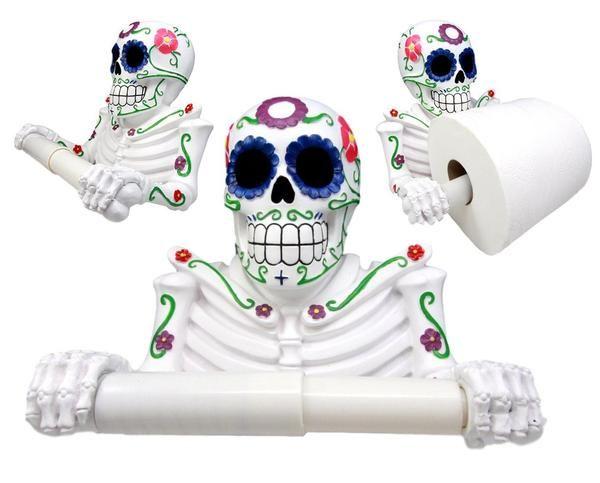 Found On Google From Atlantic Collectibles Com Sugar Skull Decor Sugar Skull Toilet Paper Holder