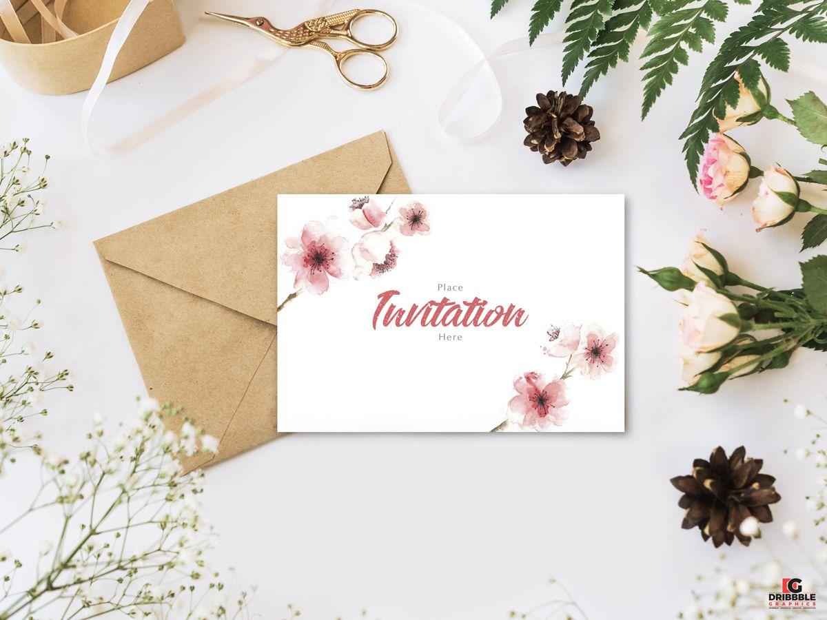Free Stylish Branding With Flowers Invitation Mockup Psd Free