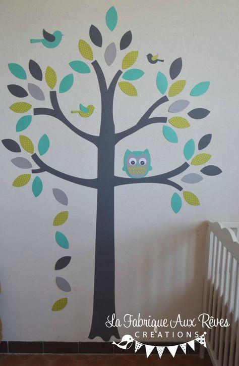 stickers arbre turquoise vert anisle gris hibou oiseaux - décoration ...