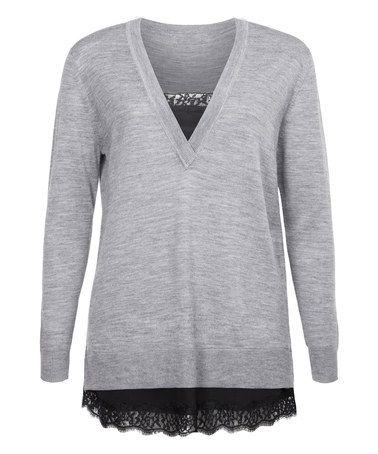 Look at this #zulilyfind! Light Gray & Black Lace Wool-Blend Layered Sweater #zulilyfinds