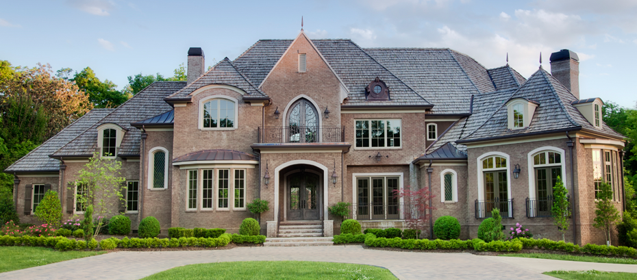 Exterior ideas home galleries roof color red brick house for Log and brick home