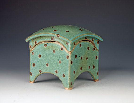 Blue Handmade Ceramic Box Slab Built Stoneware Curved