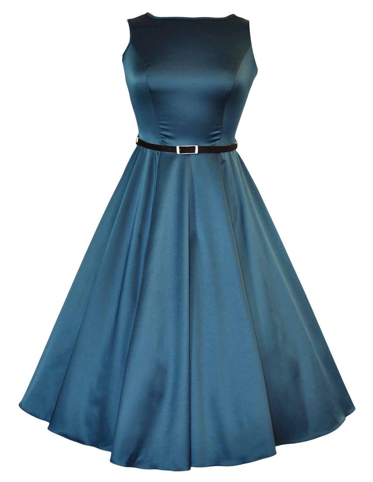Lady V London The Teal Green Hepburn Dress - sizes UK 16 to 28 ...