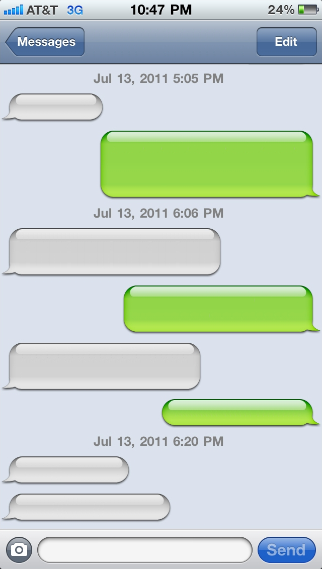 Blank IPhone Text Message Bubble Template
