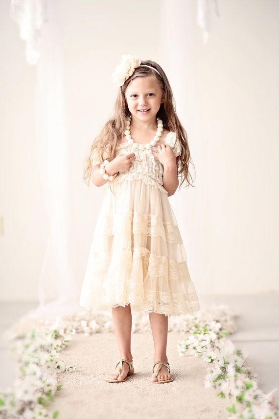 Champagne Lace Flower Girl Dress Rustic Flower by CountryCoutureCo