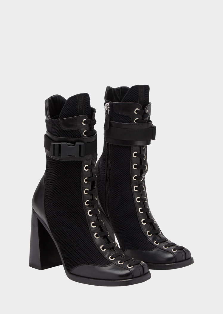 e42ba21e234 Laced High Heel Demi-Boots from Versus Versace Women s Collection. Closed  toe