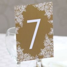 Gold Floral Table Numbers