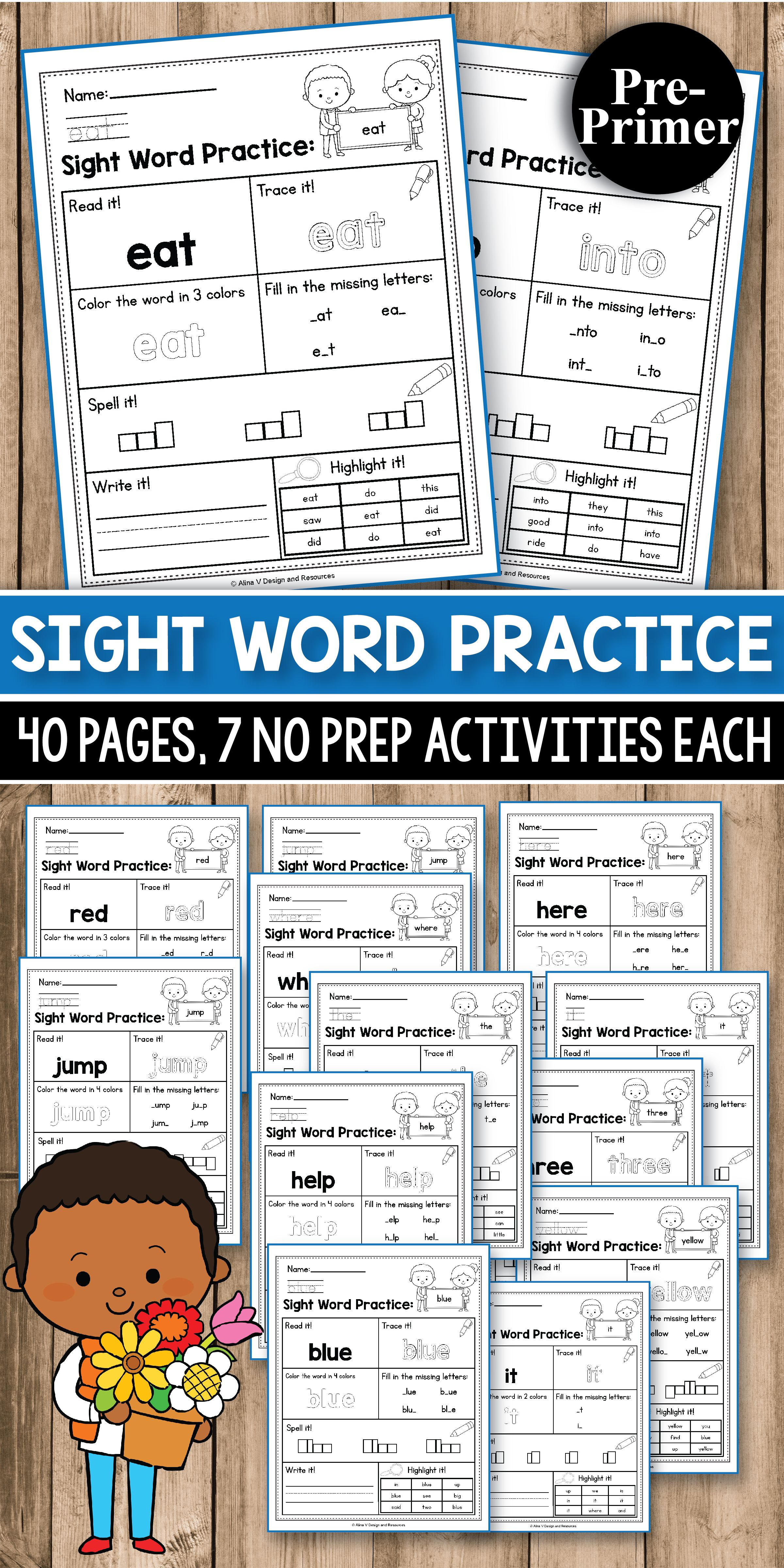 Mega Bundle Sight Word Practice Kindergarten Trickysale