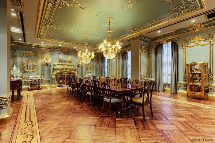 Superb This Opulent NYC Mansion Has Parquet Flooring, Large Dining Table, Floor To  Ceiling Drapes, Ornate Ceiling And Wall Panels And Dual Chandeliers.