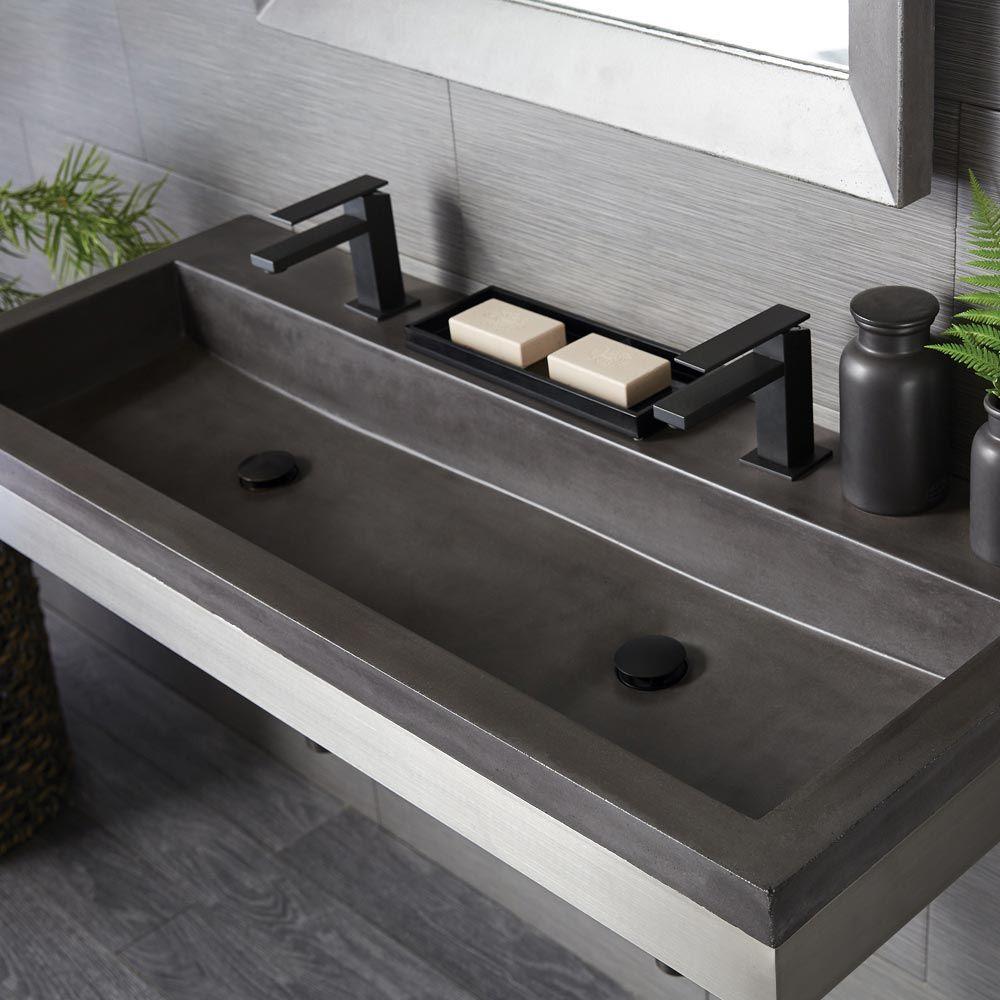 Concrete Trough Double Bathroom Sink Native Trails Trough Sink Bathroom Concrete Bathroom Bathroom Decor [ 1000 x 1000 Pixel ]