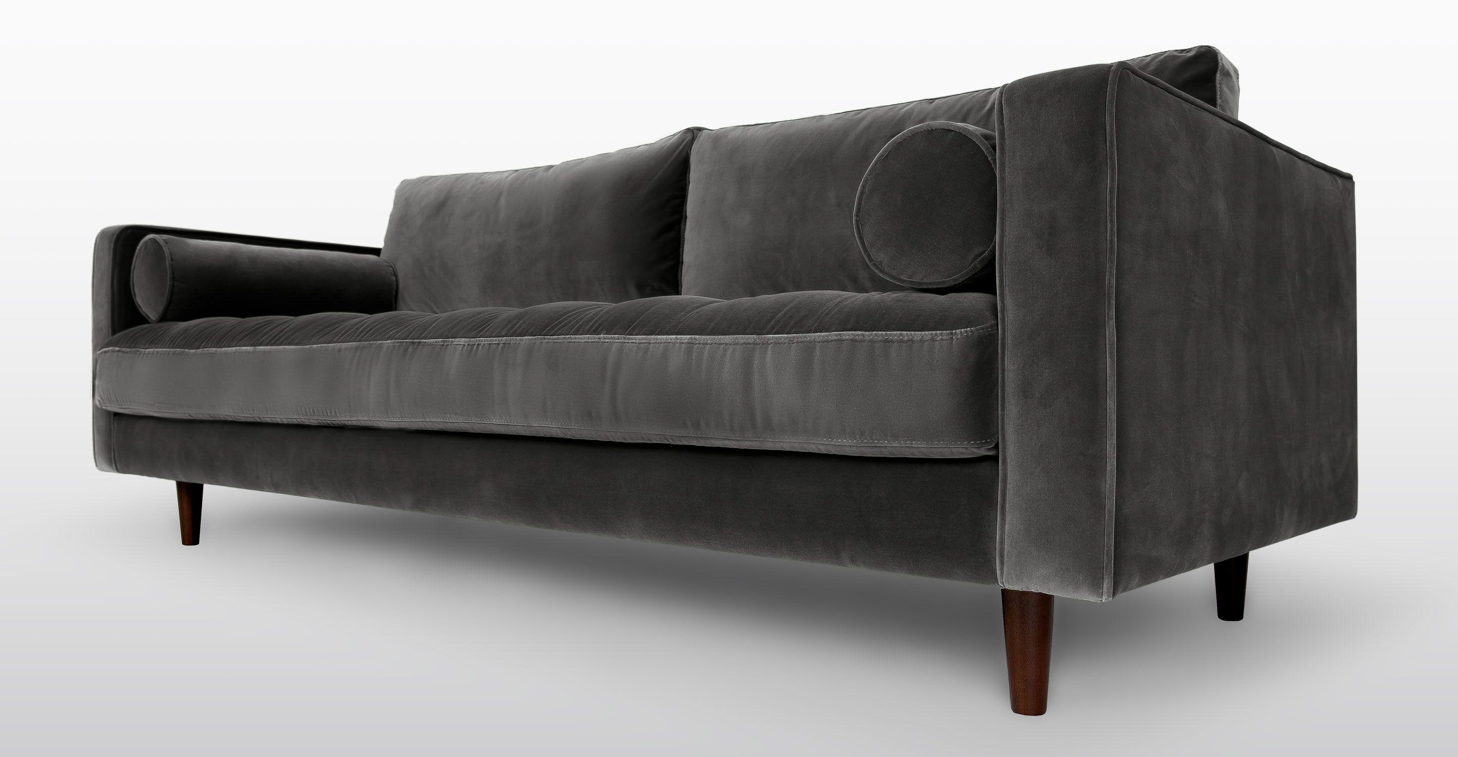 Sven shadow gray sofa sofas article modern mid century and scandinavian furniture