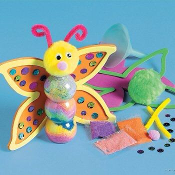 Foam vlinder met grote,gekleurde knikkers