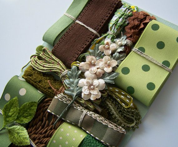 Vintage GREEN and BROWN  Assortment of Ribbons - Laces - Trims and Velvet Millinery Flowers - Crazy Quilt Sewing and Craft Embellishment