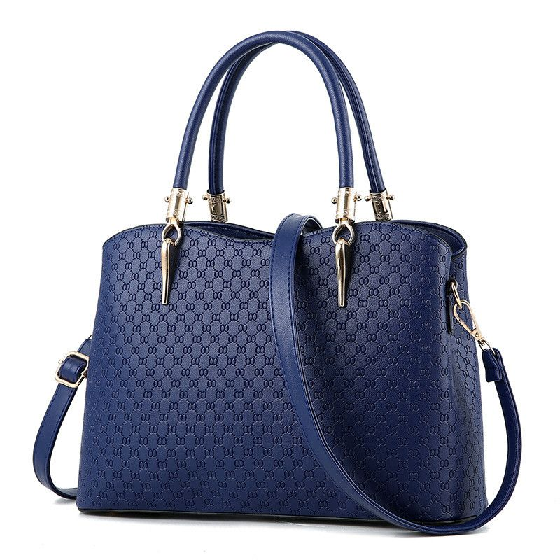 dad2c586530f Newest  Fashion Female  Bags Concise Elegant Office  Ladies Style  Handbags  Solid Color  Navy Blue  Totes