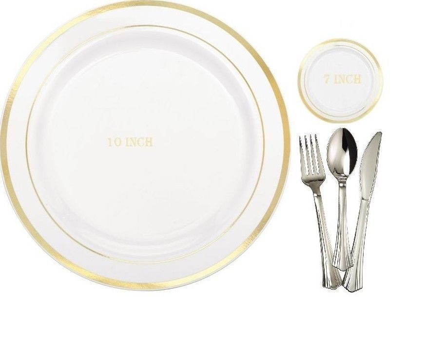 Bulk anniversary wedding dinner Plastic Plates u0026 silverware gold rim/silver rim | Plastic plates and Gold  sc 1 st  Pinterest & Bulk anniversary wedding dinner Plastic Plates u0026 silverware gold rim ...
