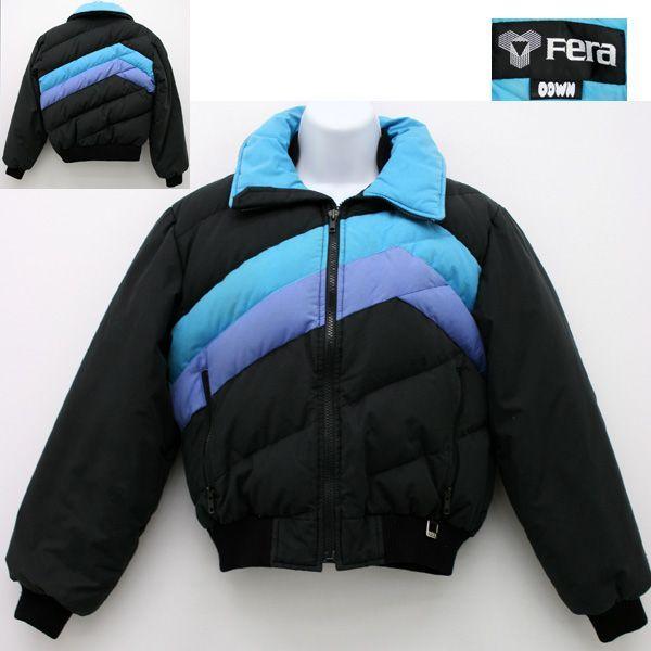 Cute Vintage 70s Ski Jacket Vintage Fera Ski Wear Ladies Puffy Down Black Lavender Light Blue Vintage Ski Jacket Jackets Ski Jacket