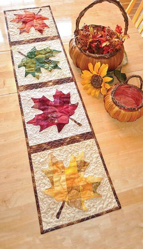 Patchwork Maple Leaf Table Runner Quilt Pattern Table