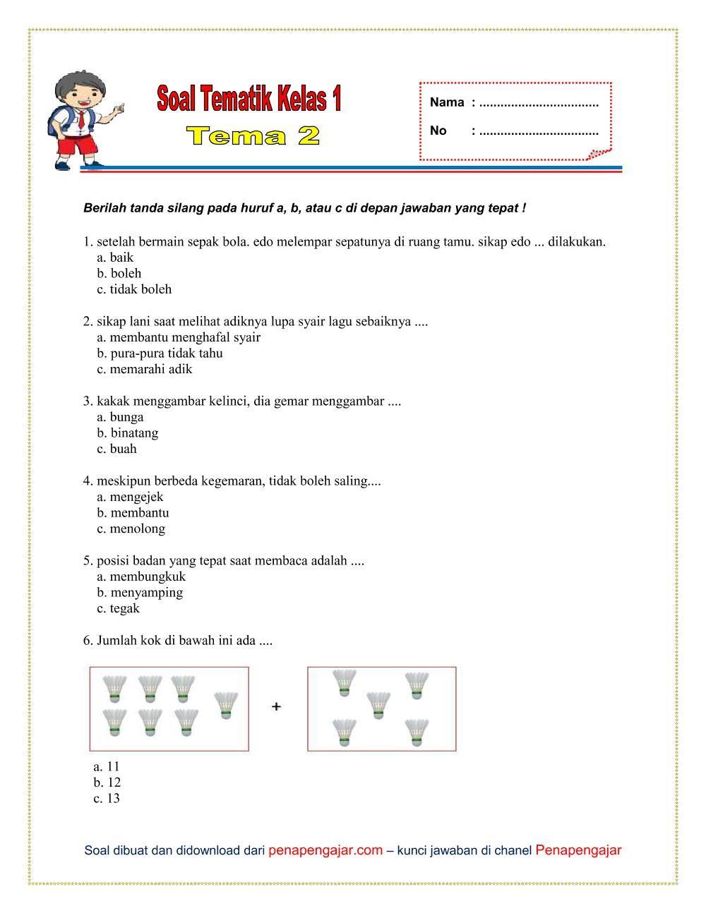 Soal Tema 2 Kelas 1 Semester 1 Kurikulum 2013 Revisi Terbaru Kurikulum Berkelas Lagu