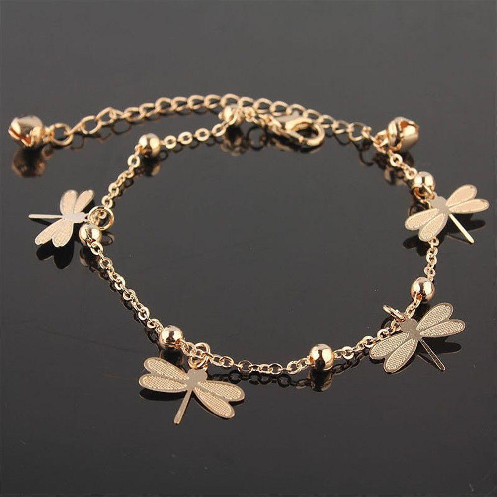 New arrivals Dragonfly ankle Bracelet on the leg for women Gold ...