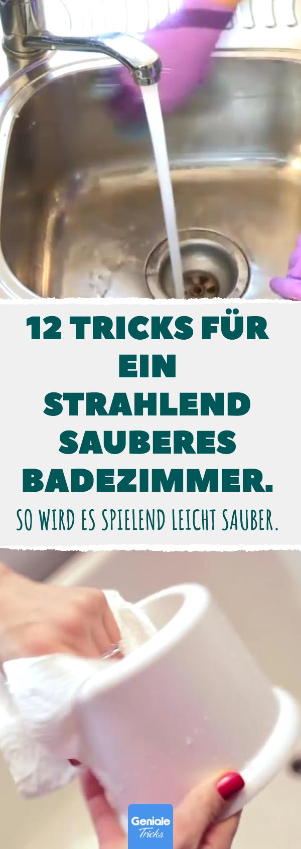 12 Tricks für ein strahlend sauberes Badezimmer. #Bad #saubermachen #putzen #Ha…