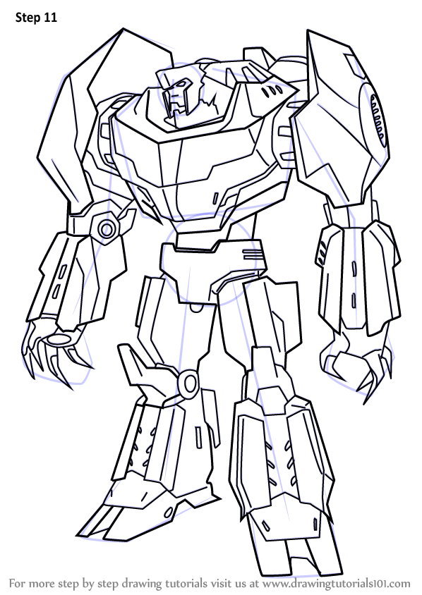 How To Draw Grimlock From Transformers Drawingtutorials101 Com Robot Art Drawings Guided Drawing
