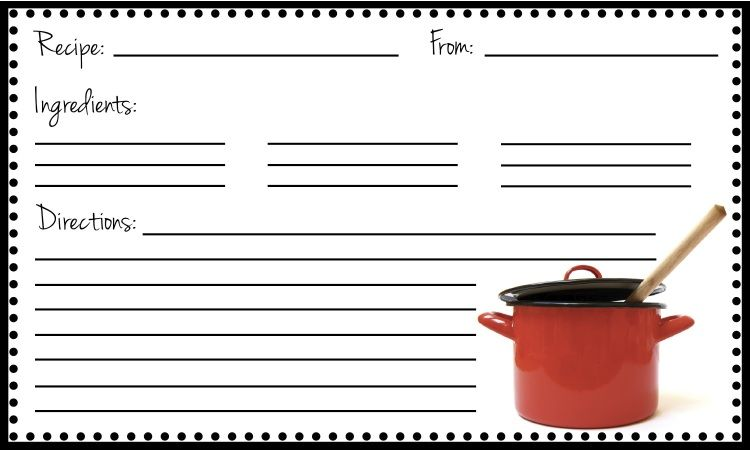 Free Recipe Card as a .pdf file that you can type the information ...
