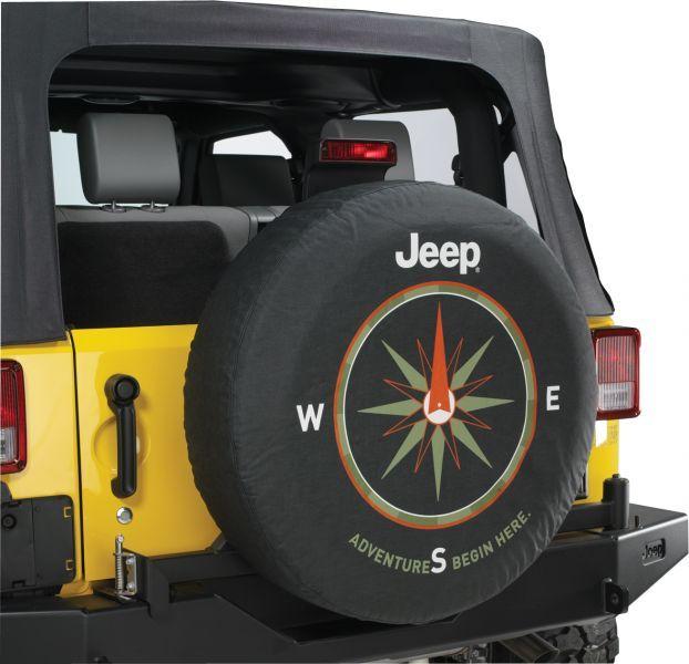 Mopar Jeep Logo Tire Cover Black Denim With Adventures Begin Here
