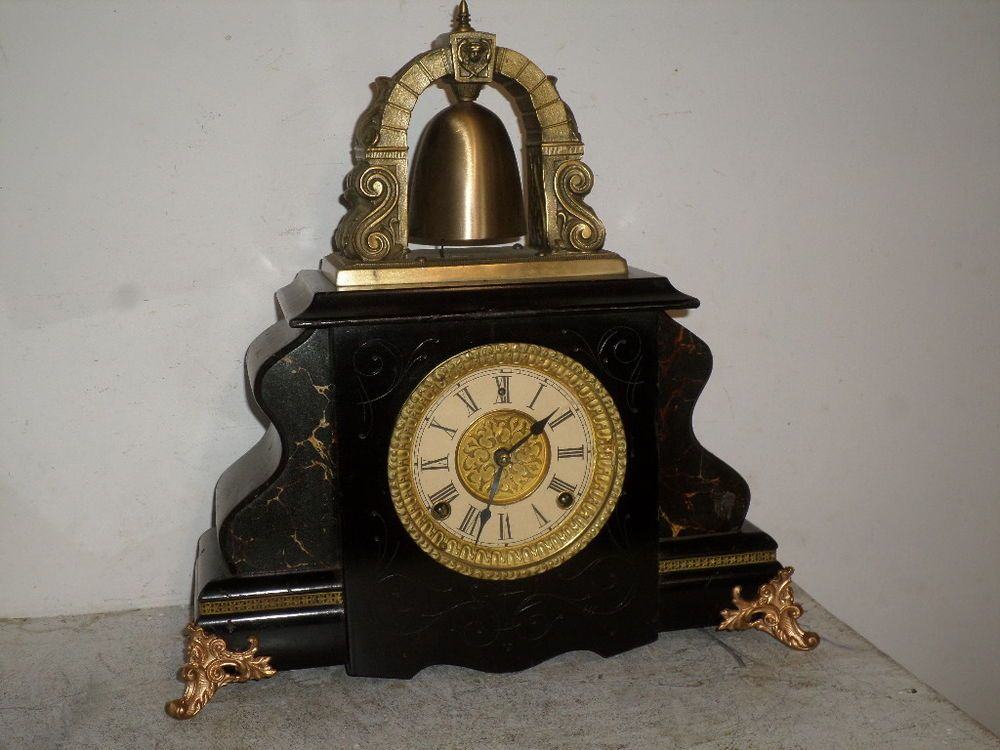 gilbert u0027curfew mantle clock with large brass bell on top of clock - Mantle Clock