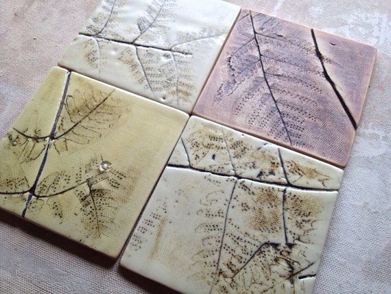 One set of FOUR for $29.00 Plus Burlap Gift Bag Made to Order        *A note about my tiles.....All of my tiles are hand rolled clay from the