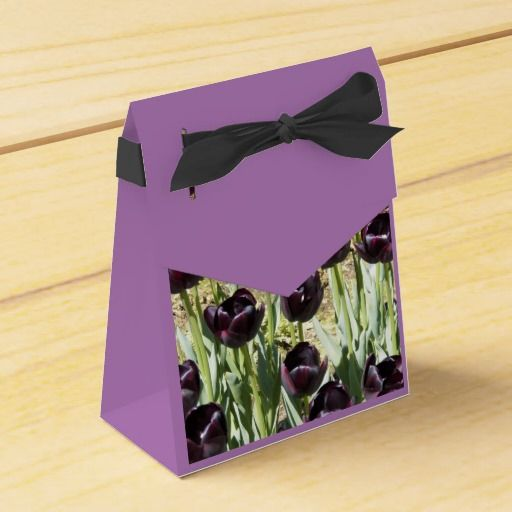 Black Tulips Party Favor Boxes #flowers #partyideas #showerideas
