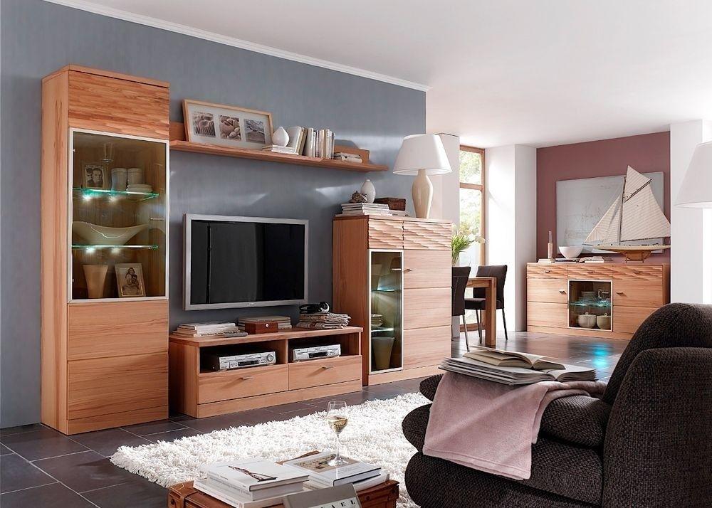 Wohnwand Massiv Espero 2 Wohnzimmerschrank Holz Asteiche Bianco - wohnzimmerschrank buche massiv