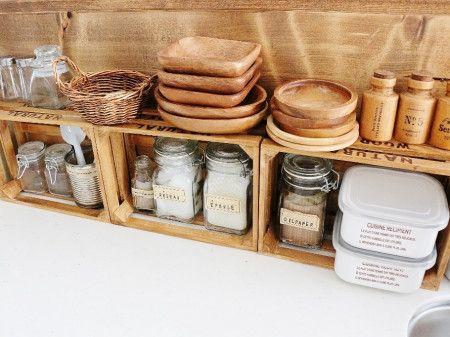 100均木箱 お菓子型でキッチン収納 キッチン 収納 アイデア