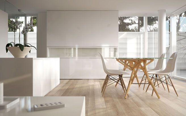 purismus wohnung mit eklektischer einrichtung, esszimmer im puristischen wohnstil: auf die nötigsten möbel, Design ideen