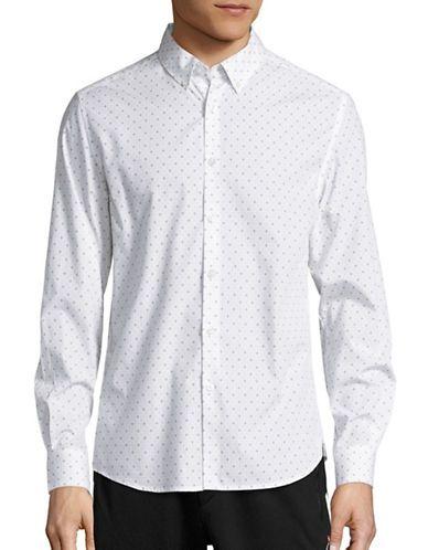 Kenneth Cole New York Patterned Sportshirt Men's White Medium