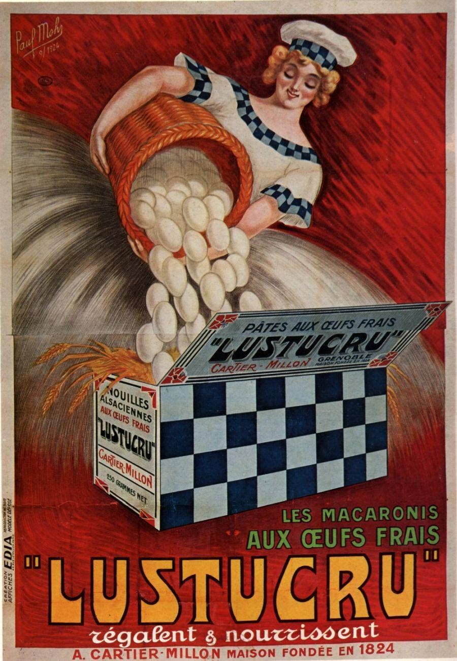 Ancienne publicit pour les macaronis lustucru une affiche alimentaire pour une cuisine vintage - Affiche cuisine retro ...