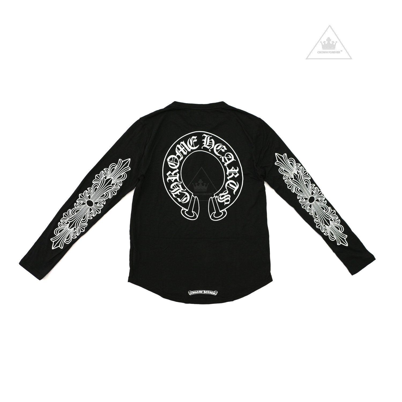 Ch Unisex Hs Cross Floral Ls Silver Button Shirt Clothing Brand Heart Clothes Chrome Hearts [ 1500 x 1500 Pixel ]