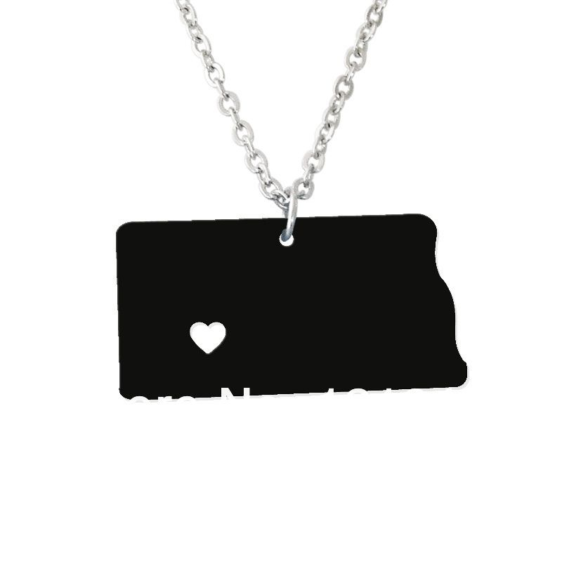 Personalized state necklace i heart north dakota necklace personalized state necklace i heart north dakota necklace custom map pendant acrylic state aloadofball Gallery